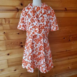 1950s/60s Unlabeled White & Orange Floral Halter D